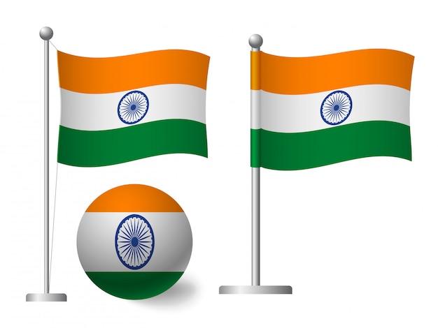 Indien flagge auf stange und ballikone