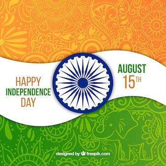 Indien flagge ornamentalen hintergrund