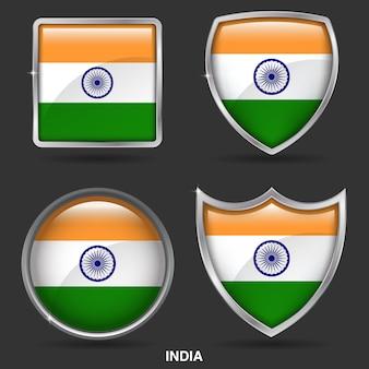Indien flags in 4 shape-symbol