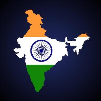 Indien-gebietskarte-vektorillustration. flaggen- und emblemdesign auf blauem hintergrund mit farbverlauf.