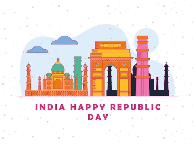 Indien happy republic day poster mit tempeln