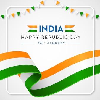 Indien happy republic hintergrund indische flagge