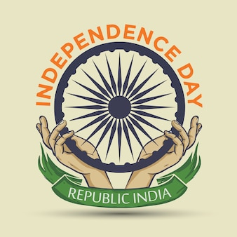 Indien independence day theme badge