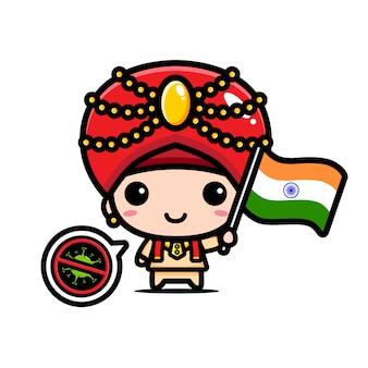 Indien junge mit flagge gegen virus