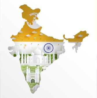 Indien karte mit berühmten wahrzeichen und indien flagge