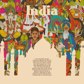 Indien kulturelle symbole muster poster