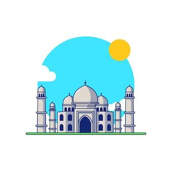 Indien land wahrzeichen taj mahal gebäude vector illustration design