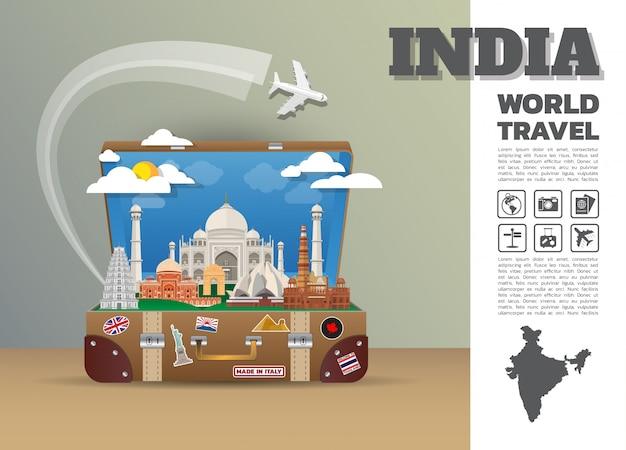 Indien landmark global travel and journey infografik gepäck.3d design