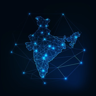 Indien low-poly-karte leuchtende silhouette