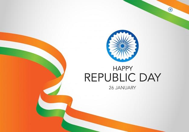 Indien republik tag hintergrund mit wehende flagge