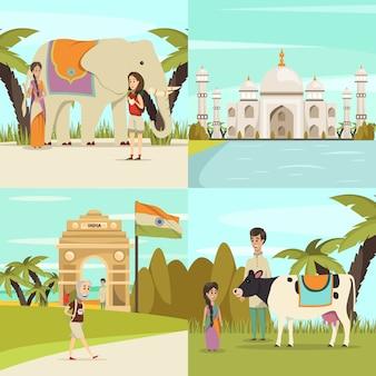 Indien szene sammlung
