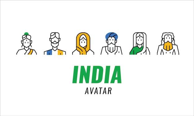 Indien traditioneller charakter. dünne linienelemente.