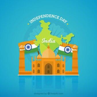 Indien unabhängigkeit hintergrund mit taj mahal und flaggen