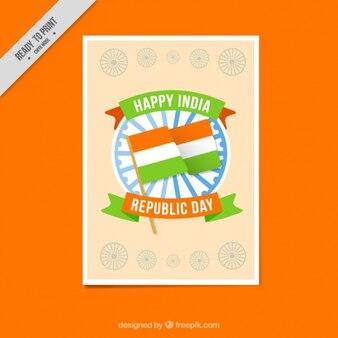 Indien unabhängigkeit tageskarte mit flagge