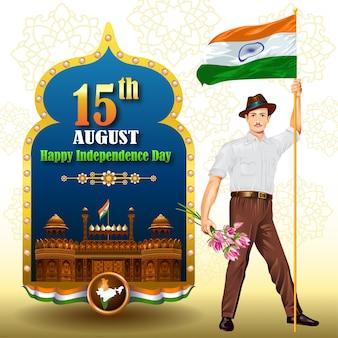Indien-unabhängigkeitsgrüße mit mann, der flagge hält