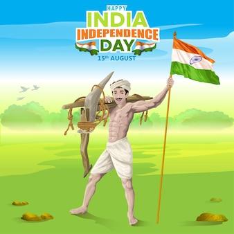 Indien unabhängigkeitsgrüße von bauern mit indischer flagge
