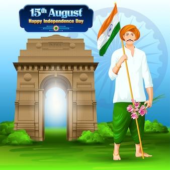 Indien unabhängigkeitstag wünsche mit einem landwirt