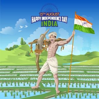 Indien unabhängigkeitstag wünscht mit bauer im reisfeld mit indischer flagge