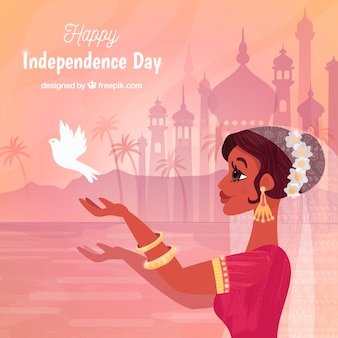 Indien-unabhängigkeitstaghintergrund mit frau und taube