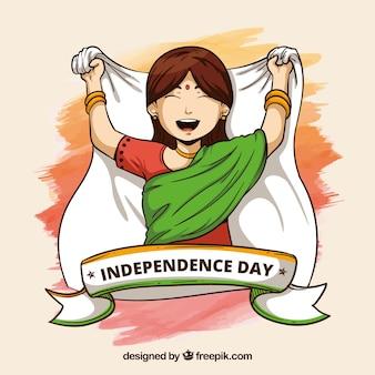 Indien-unabhängigkeitstaghintergrund mit mädchen