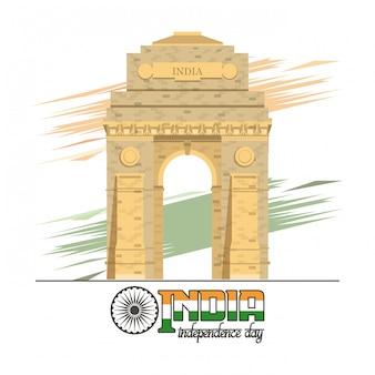 Indien-unabhängigkeitstagkarte bunt