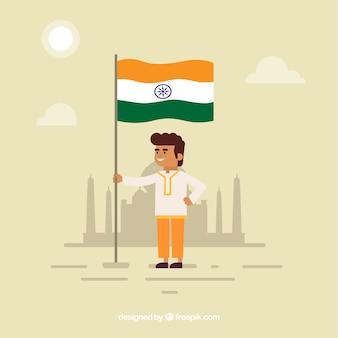 Indien-unabhängigkeitstagzusammensetzung mit flachem design
