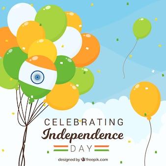 Indien-Unabhängigkeitstaghintergrund mit Ballonen