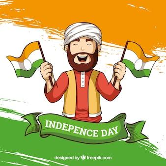 Indien-Unabhängigkeitstaghintergrund mit Mann