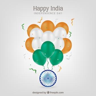 Indien-Unabhängigkeitstaghintergrund mit realistischen Ballonen