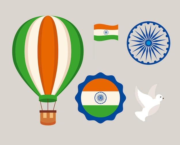 Indien und glückliche unabhängigkeitstag-ikonensammlung