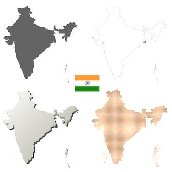 Indien-vektorumreißkartensatz