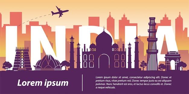 Indien wahrzeichen, silhouette design