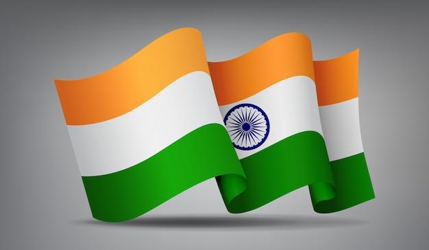 Indien winkende flaggenikone lokalisiert, offizielles symbol des landes.
