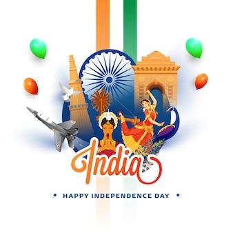 Indien zeigt ihre kultur und ihr erbe auf weißem hintergrund für das konzept des unabhängigkeitstages.