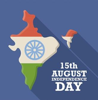 Indienkarte mit nationalflagge, unabhängigkeitstag 15. august