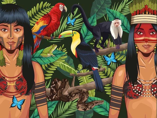 Indigene frauen mit tieren besetzt