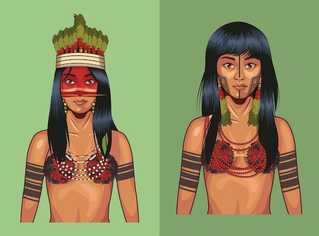 Indigene frauen mit traditionellem tuch besetzt