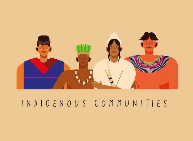 Indigene gemeinschaften männer mit traditioneller kleidung