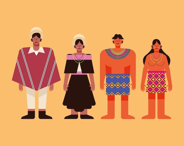 Indigene völker mit traditionellem stoff-icon-set