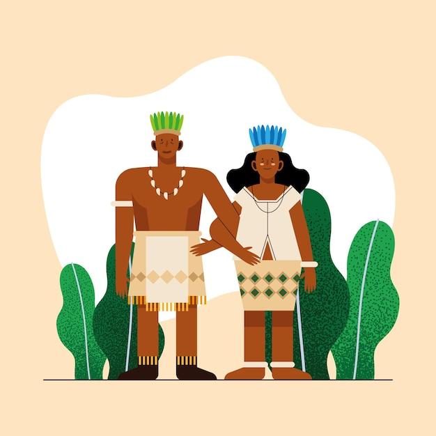 Indigenes paar mit traditionellem tuch auf gelbem hintergrund