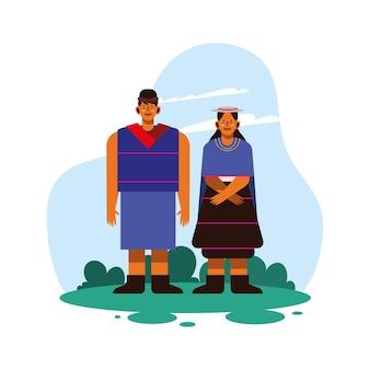 Indigenes paar mit traditionellem tuch auf weißem hintergrund