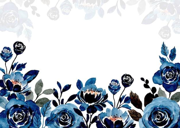 Indigo abstrakter blumenaquarellhintergrund