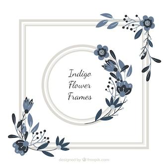 Indigo floral frame