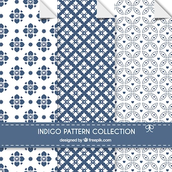 Indigo-muster sammlung