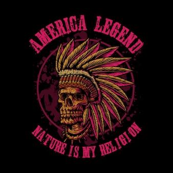 Indische amerika-legende des schädels