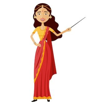 Indische attraktive junge dame, die etwas darstellt