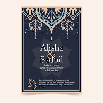 Indische einladungsschablone mit eleganten elementen
