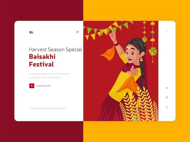 Indische erntezeit in punjab baisakhi landing page mit cartoon-illustration von punjabi girl dance