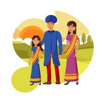 Indische familie auf naturweg-vektor-illustration