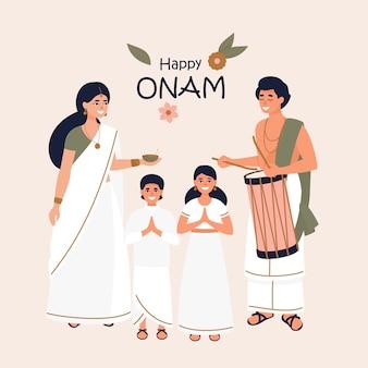 Indische familie für festival onam